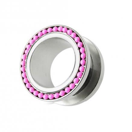 Pink Ball Loop Top Ear Flesh Tunnel