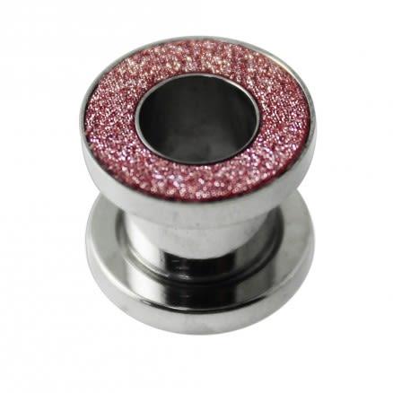 Pink Glitter  External Thread Flesh Tunnel