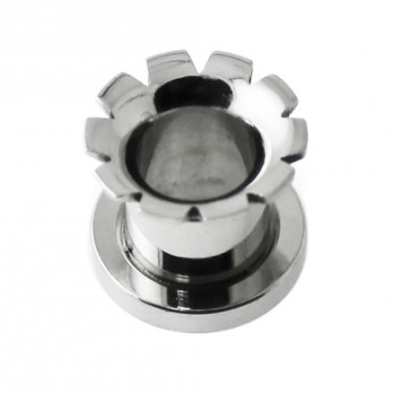 Hollow Grooved and Flared front Screw Fit Flesh Tunnel