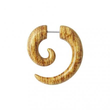 Wooden Marble Spiral Fake Ear Plug