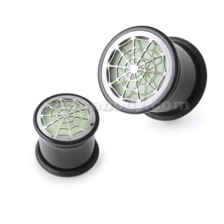 Glow In The Dark Spider Web Plate Ear Plug