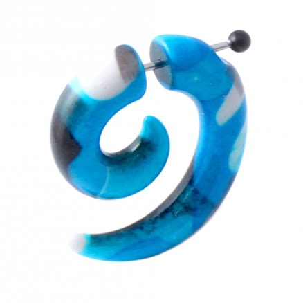 Black and Blue Spiral Fake UV Ear Taper