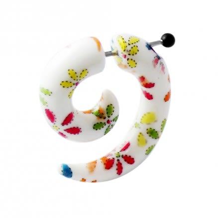 Multi Color Flowers Spiral Fake UV Ear Expander