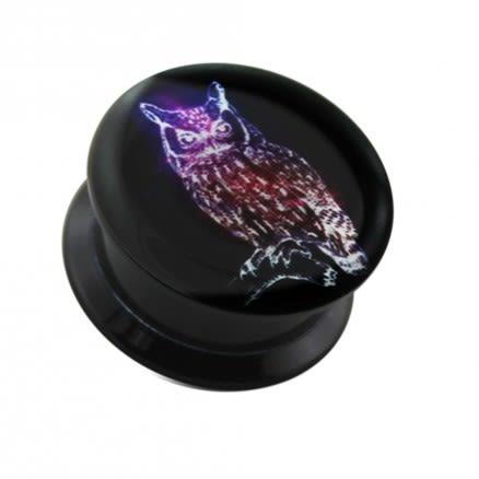 Glowing owl UV Internal Screw Fit Ear Tunnel