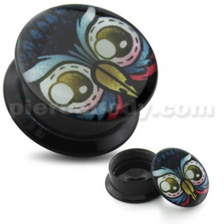 Owl Eyes UV Internal Screw Fit Ear Tunnel