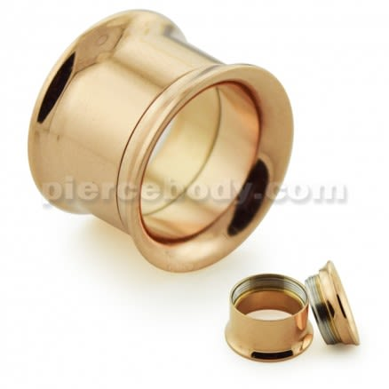 Rose Gold Plated Internal Screw Fit Ear Flesh Tunnel