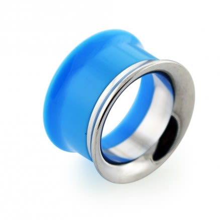 Light Blue UV Acrylic with Steel Internal Thread Flesh Tunnel