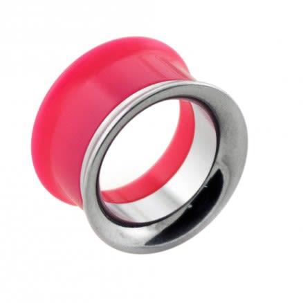 Pink UV Acrylic with Steel Internal Thread Flesh Tunnel