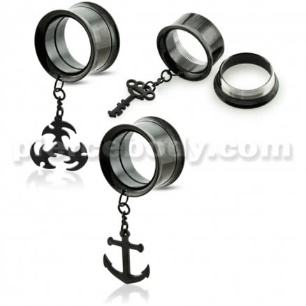 Black PVD Plated Dangling Castings Ear Flesh Tunnel