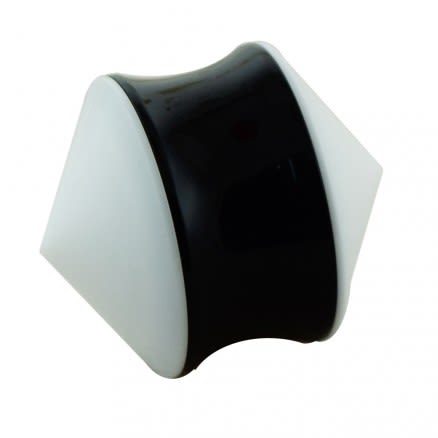 White UV Cone with Black Screw Flesh Tunnels