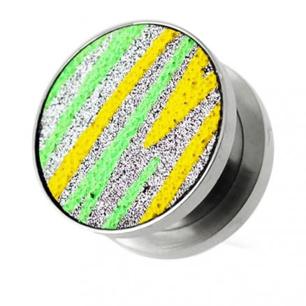 Yellow and Green Stripes on Glitter Flesh Tunnels