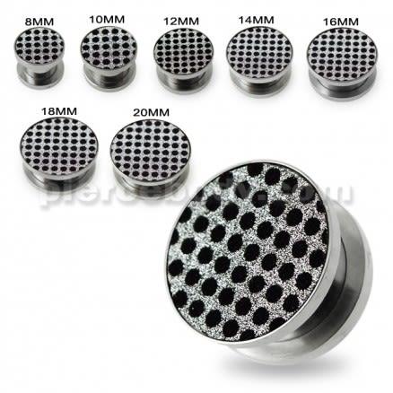 Black Dots on White Glitter Ear gauges