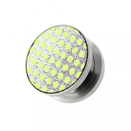 Light Green Dots on White Glitter Ear tunnel gauges