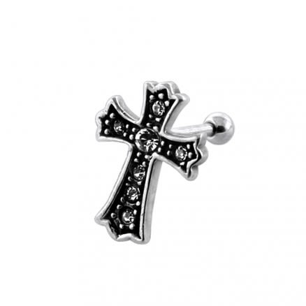 Jeweled Irish Crucifix Fake Ear Plug