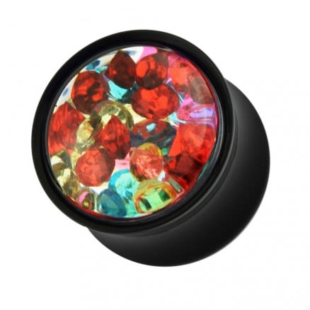 Multi Colored Gems Encased Within a Black Double Flared Ear Plug