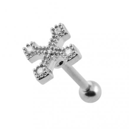 Micro Setting Jeweled Irish Cross Tragus Piercing