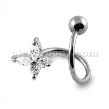 Crystal Butterfly Twisted Barbell