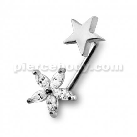 Crystal Flower with Star Surface Piercing