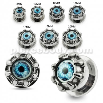 Dragon Claw Blue Evil Eye Flesh Tunnel Body Jewelry