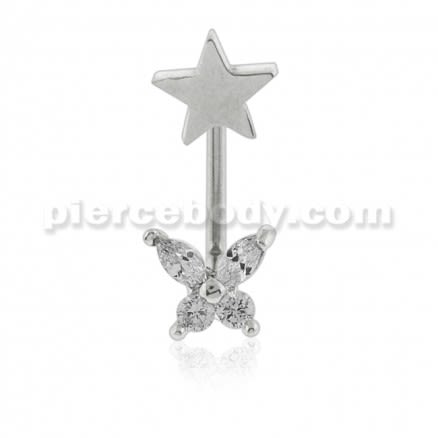 Crystal Butterfly with Star Surface Piercing