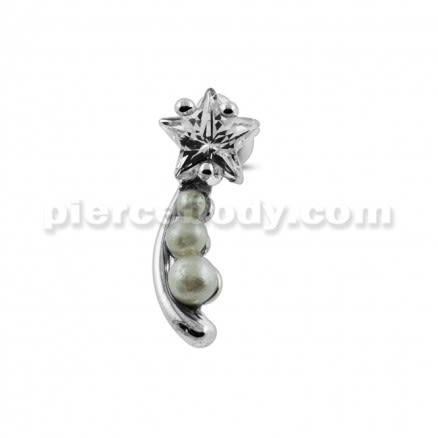 Jeweled Star with Pearl Tail Cartilage Tragus Piercing Ear Stud