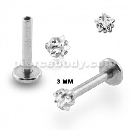 Surgical Steel Internal Threaded Madonna Labret with Star Jeweled Top