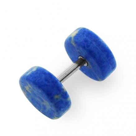 Organic Dark Blue Turquoise Stone Fake Ear Plug