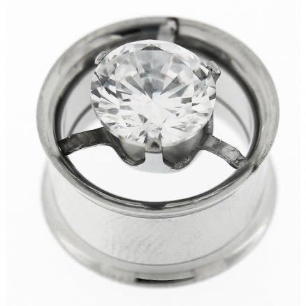 Single CZ in Center Steel Flesh Tunnel Body Jewelry