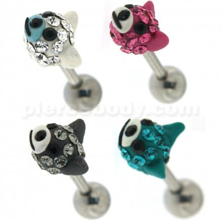 Multi Jeweled Dog Face Cartilage Tragus Piercing Ear Stud