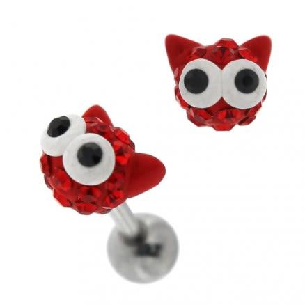 Multi Jeweled Big Eye Cat Cartilage Tragus Piercing Ear Stud