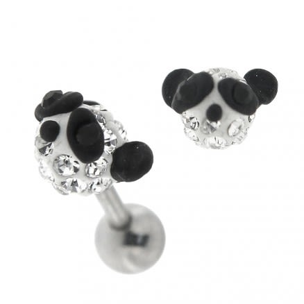 Multi Jeweled Panda Cartilage Tragus Piercing Ear Stud