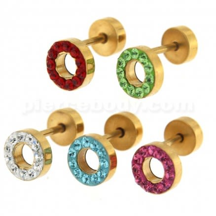 Multi Jeweled 8 mm Gold PVD Flat Disc with Hole Invisible Ear Plug