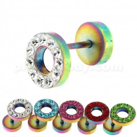 Multi Jeweled 10 mm Rainbow Flat Disc with Hole Invisible Ear Plug
