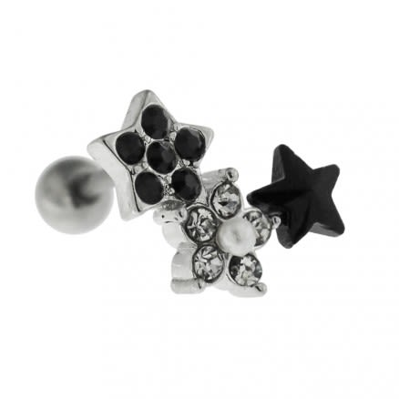 Jeweled Flower with Star Cartilage Tragus Piercing Ear Stud