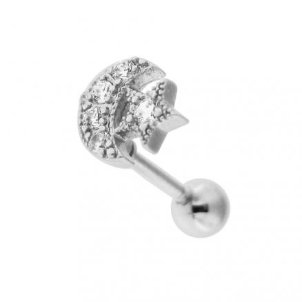 Jeweled Moon Star Cartilage Helix Tragus Piercing Ear Stud