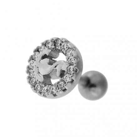 Micro Jeweled Round Anchor Cartilage Tragus Piercing Ear Stud