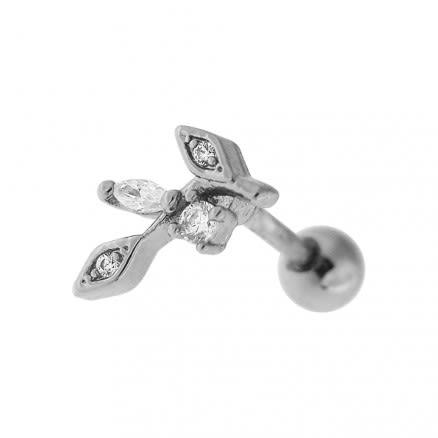 Jeweled Floral Cartilage Helix Tragus Piercing Ear Stud