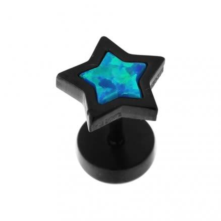 SS Blackline Jeweled Star Opal Stone Fake Ear Plug