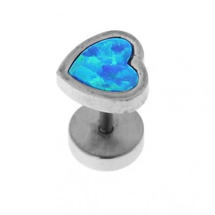 316L Surgical Steel Heart Opal Stone Fake Ear Plug