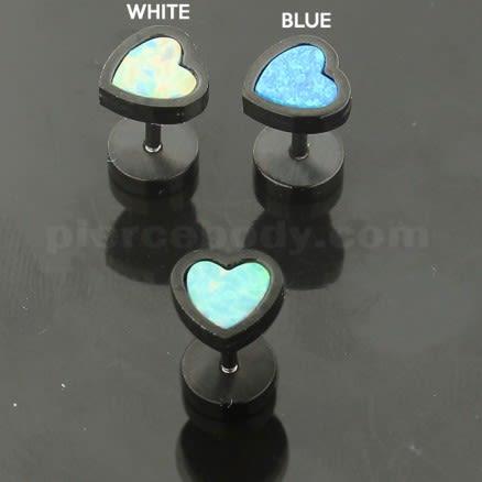 SS Blackline Jeweled Heart Opal Stone Fake Ear Plug