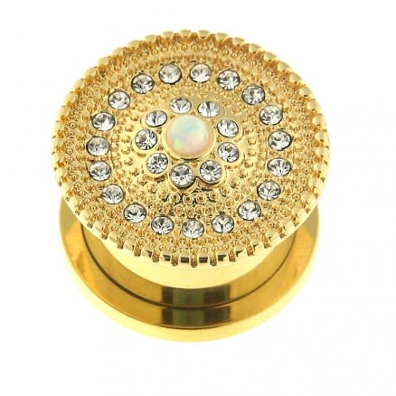 Gold PVD Plated Micro Jeweled CZ with center Opal Stone Ear Flesh Tunnel