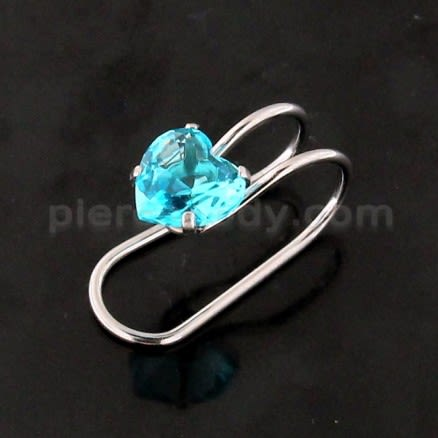 Heart Jeweled Pressing Type Non Piercing Cartilage Clip on Ear rings