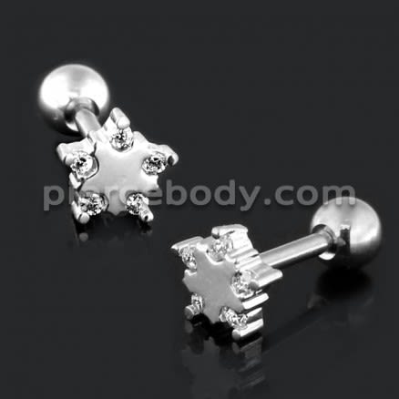 Star with Micro Setting CZ Cartilage Helix Tragus Piercing Ear Stud