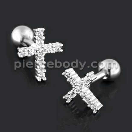 Cross with Micro Setting CZ Cartilage Helix Tragus Piercing Ear Stud