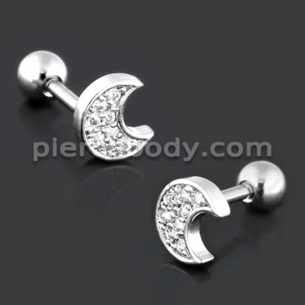 Half Moon with Micro Setting CZ Cartilage Helix Tragus Piercing Ear Stud