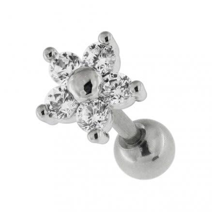 Flower Fancy Jeweled Cartilage Helix Tragus Piercing Ear Stud
