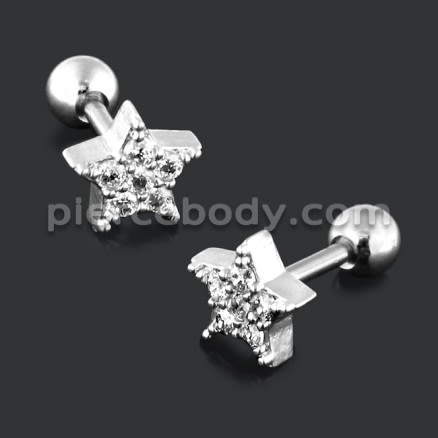 Jeweled Star with Micro Setting CZ Cartilage Helix Tragus Piercing Ear Stud