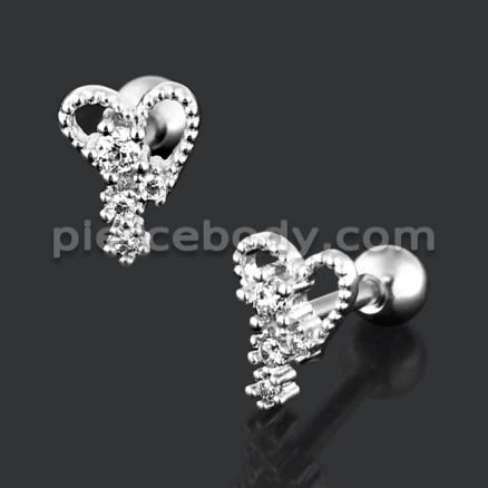 Jeweled Stylish Heart with Micro Setting CZ Stone Cartilage Helix Tragus Piercing Ear Stud
