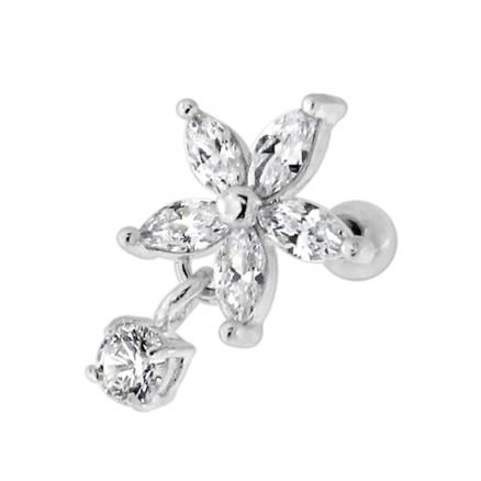 Flower with Hanging CZ Stone Helix Tragus Piercing Ear Stud