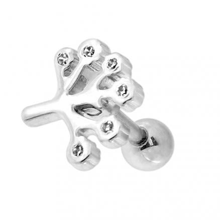 Tree with Setting CZ Stone Cartilage Helix Tragus Piercing Ear Stud